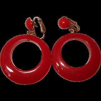 Vintage Pair of Cherry Red Bakelite Hoop Earrings