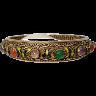 Chinese Export Enameled Vermeil Silver Filigree Gemstone Cabochons Bangle Bracelet