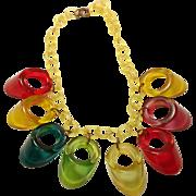 Multi Color Prystal Bakelite Dangle Necklace on Celluloid Chain Book Piece