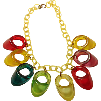 Real Rarity Multi Color Prystal Bakelite Dangle Necklace on Celluloid Chain