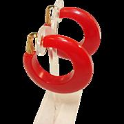 Large pr. of Cherry Red Bakelite Hoop Clip-on Earrings