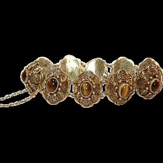 Vintage Chinese Export Gold Vermeil Silver Tiger's Eye Bracelet