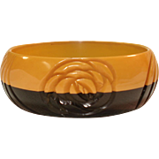 Laminated & Carved Black  Butterscotch Bakelite Bangle Bracelet