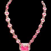 Art Deco Open Back Crystal Sterling Choker Necklace