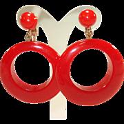 Pair of Large Cherry Red Bakelite Hoop Earrings