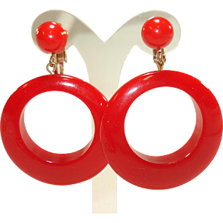 Pair of Large Cherry Red Bakelite Hoop Earrings