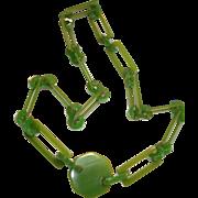 Vintage Translucent Green Bakelite Belt Necklace