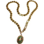 Beautiful Victorian Gold Filled Bookchain Necklace with Gold Filled Jade Cabochon Locket