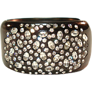 Wide Weiss Sparkly Rhinestone Jet Black Thermoplastic Lucite Clamper Bracelet