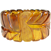 Wide & Beautifully Carved Marbled Apple Juice Bangle Bracelet