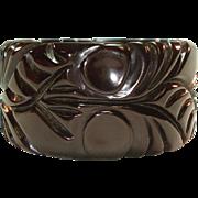 Rare Deeply Carved Brown Black Changer Bakelite Bangle Bracelet