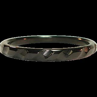 Carved Black Bakelite Bangle Bracelet
