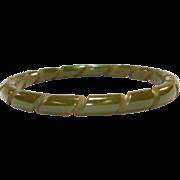 Rope Carved Olive Green Bakelite Bangle Bracelet