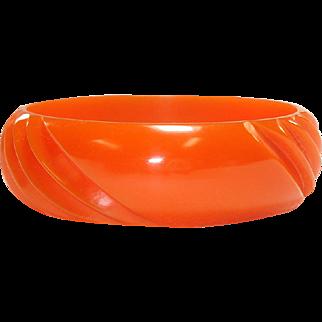 Nicely Carved Orange Bakelite Bangle Bracelet