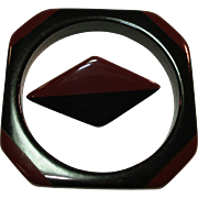 Laminated Chocolate Brown & Black Bakelite Bangle Bracelet