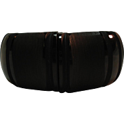 Chunky Carved Matte & Glossy Black Bakelite Clamper Bracelet
