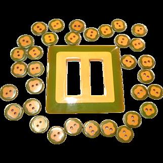 32 Translucent Green & Butterscotch Bakelite Cookie Buttons & Belt Buckle