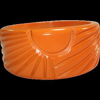 Wide Sunburst Carved Cantaloupe Bakelite Bangle Bracelet