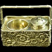 Japanese Silver Condiment Salt & Pepper Set Basket