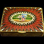 Antique Brass Enameled Scenic Box