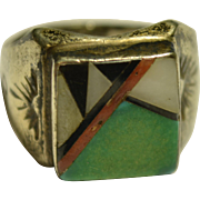 Antique Sterling Silver Navajo Chanel Inlaid Ring
