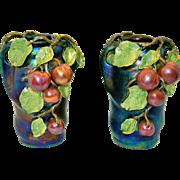 Spectacular Pair of Austrian Amphora Lustre Vases With Cherries or Peaches