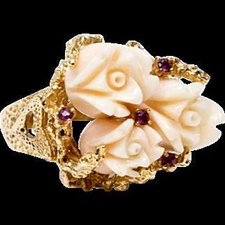 Vintage 14k Angel Skin Coral & Ruby Ring