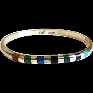 Sterling Silver Multi Stone Bangle Bracelet