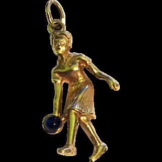Rare 14k Gold Girl Bowling Pendant 3D
