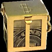 14k Gold U. S. $1 Mad Money Bank Charm