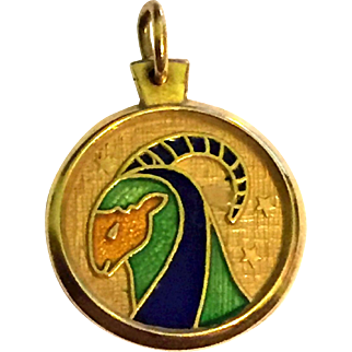 750 18k Gold Aries Enameled Pendant