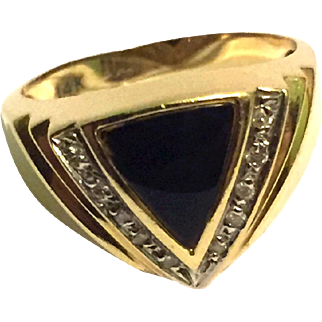 Art Deco 14k Gold ring with Diamonds & Onyx