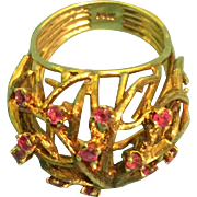 Vintage 14k Gold & Rubies Familly Tree Ring