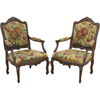 Pair of Spectacular 19th Century Needlepoint Arm Chairs