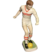 Vintage Hungarian Hollohaza Porcelain Soccer Player Figure