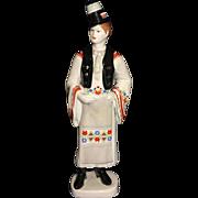 Vintage Hungarian Hollohaza Porcelain Tall Figurine