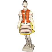 Vintage Hungarian Hollohaza Porcelain Tall Figurine of a Girl