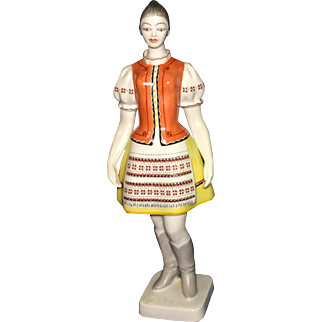 Vintage Hungarian Hollohaza Porcelain Tall Figurine of a Girl