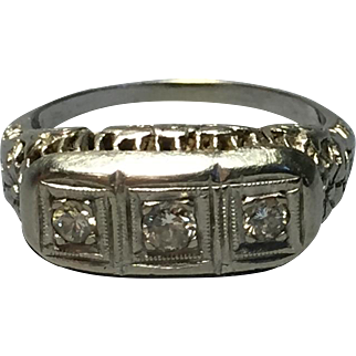 Art Deco 14k White Gold Engagement Ring With Diamonds