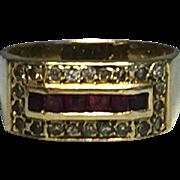 Vintage 14k Yellow Gold Diamonds & Rubies Ring