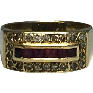 Vintage 14k Yellow Gold Diamonds & Rubies Ring