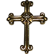Vintage 10k Gold Cross with Diamond