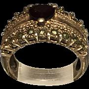 Vintage Sterling Silver Garnet & Marcasite Heart Ring