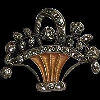 Vintage Signed Catherine Popesco Enamel Rhinestone Basket Brooch