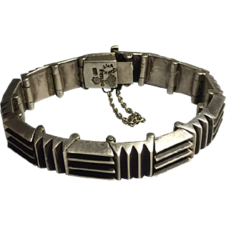 Rare Antonio Pineda Incised Bars sterling Silver Modern Bracelet