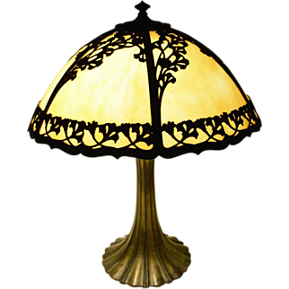 Large 1920's Carmel Slag Glass Lamp
