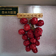 Asian taste swinging bright  red grapes pin
