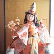 Dressed cherry blossom's kimono, Shiokumi Doll from the KABUKI