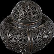 Vintage Designer Singed Liberty Co. Paris London Fancy Scrolled Filigree Metal Container Vanity Vase Perfume Bottle