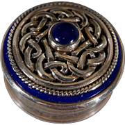 Vintage Sterling Silver Round Lapis Blue enameled Irish Celtic Knot Raised Relief Design Trinket Pill Box      #653